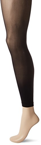 - HUE Women's Flat-tering Fit Opaque Footless Tights, Black, 3
