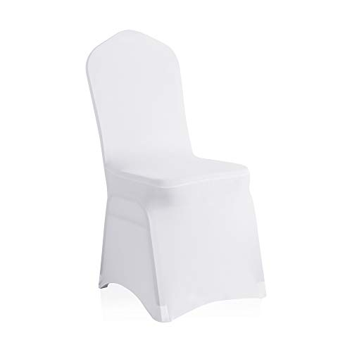 SARAFLORA 100 Pcs White Spandex Chair Covers - Universal Stretch Chair Protectors for Wedding Ceremony Party - 100% Pc