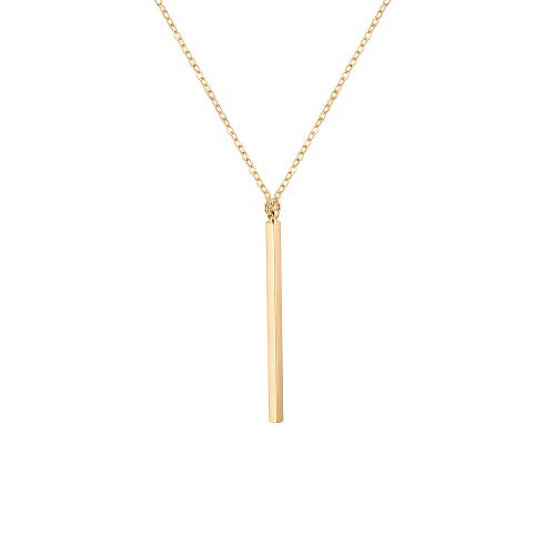 18K Gold Long Chain Necklace Vertical Bar Pendant Necklace for Women Girls Handmade Adjustable Jewelry Fashion Y-shaped Sweater Necklace Gift for Her