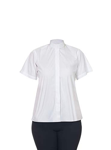 Tab Collar - FHS Ladies Clergy Shirt Tab Collar - Short Sleeves (White, 18)