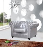 Designer Modern Chestfield Aristocrat Chair in Silver Leather For Sale