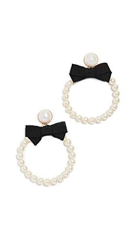 (For Love & Lemons Women's Bowtie Imitation Pearl Hoop Earrings, Black Pearl, One Size)