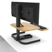 Evodesk XE Pro Height Adjustable Standing Desk, Black Frame, Medium Bamboo, Standard Controller
