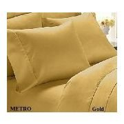 Solid Gold 300 Thread Count King/California King Size 3PC Duvet Cover Set 100 % Cotton with button enclosure
