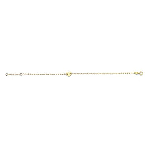 14k Yellow Gold Heart Charm Chain link Bracelet, 7 Inches