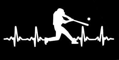 (LLI Baseball Batter Heartbeat | Decal Vinyl Sticker | Cars Trucks Vans Walls Laptop | White | 5.5 x 2 in |)
