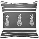 Grey Scale Pineapples And Stripes Pillow Case