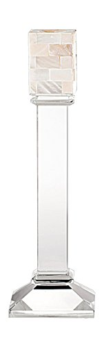 True Grit Fine Crystal Tall Decorative Candlestick Holder, Natural Shell Mosaic Taper, Square Base