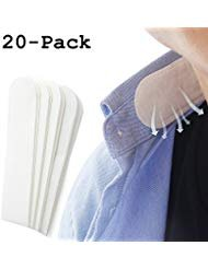Disposable Collar Protector Sweat Pads - White Collar Grime, 20 Pack COSCOD Self-Adhesive Neck Liner Pads Feel Fresh & Dry...