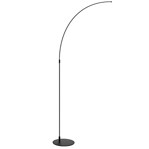 Antique Distressed Black Wood (SHINE HAI LED Arc Floor Lamp, Curved Contemporary Minimalist Lighting Design, 4000K Daylight White, Linear Light for Living Room Bedroom Office, Black)
