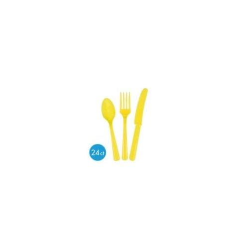 Premium Heavy Weight Assorted Cutlery  Sunshine Yellow  Pack of 24  Party Supply