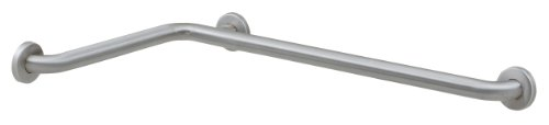 """Bobrick 6861.99 Stainless Steel 2 Wall Shower Grab Bar with Snap Flange, Satin Finish and Peened Gripping Surface, 1-1/2"""" Diameter x 15-7/8"""" Width x 30-7/8"""" Depth"""