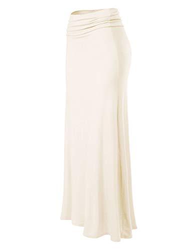 (MixMatchy Women's Basic Foldable High Waist Regular and Plus Size Maxi Skirts Ivory S)