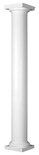 Fiberglass Columns (Endura-Stone Round Non-Tapered Column (FRP), Smooth Paint-Grade, Tuscan Capital & Base, 8