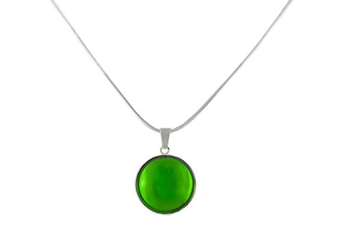 925 Silver Plated Round Pendant Necklace 18mm Snake Chain 42cm Crystal Chrysolite Green Czech Glass Stone Handmade BohemStyle