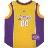 NBA Dog Jersey Size: Small (11'' H x 9'' W x 0.5'' D), NBA Team: Los Angeles Lakers by DoggieNation