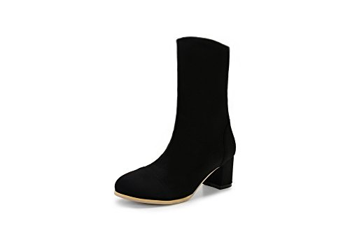 1TO9 Girls Chunky Heels Color Matching Thick Bottom Heel Frosted Boots Black UwGE213rD