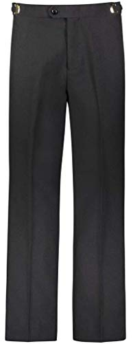 RGM Men's Tuxedo Pants Flat Front with Side Satin Stripe Black 32W x 30L