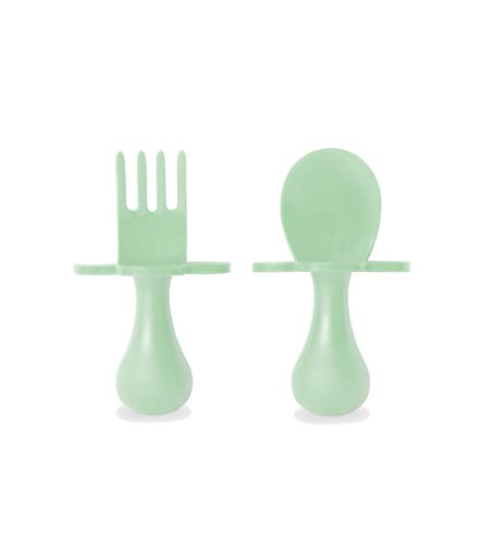 grabease First Self Feeding Utensil Set of Spoon and Fork for Toddler and Baby. BPA Free. to-go Pouch (Mint) by Elli&Nooli