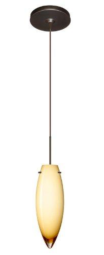 Besa Lighting 1XP-4096VG-BR Juliette 1-Light  12-volt Mini-Pendant, Vanilla Glossy Glass Shade with Bronze Finish