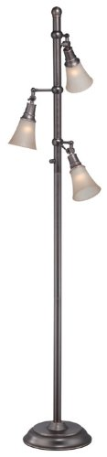 Lite Source LS-81942 Floor Lamp with Amber Glass Shades, Copper Finish, 68.5