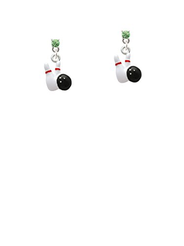 Bowling Pins with Bowling Ball Lime Green Crystal Post - Lime Pin Crystal