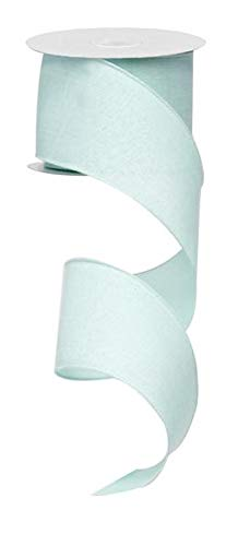 Solid Canvas Wired Edge Ribbon, 10 Yards (Mint Green, 2.5