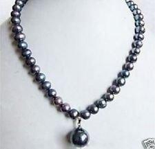 "7-8mm Black Tahitian Pearl Necklace Shell Pearl Drop 18"" Tahitian Strand"