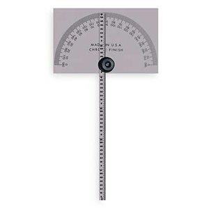 Protractor, Rectangular, 6 In, 1/64 Grad