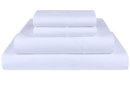 Threadmill Home Linen 600 Thread Count 100% Cotton Sheets, White Queen Sheets 4 Piece Cotton Bed Sheet Set, ELS Cotton Bed Sheets Solid Sateen Sheets Fits Mattress Up to 18'' ()