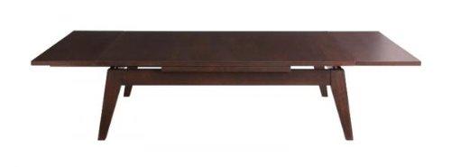 ワイドに広がる伸長式!天然木エクステンションリビングローテーブル Paodelo パオデロ Lサイズ(W120-180) ビターブラウン B005XHIE8K ビターブラウン
