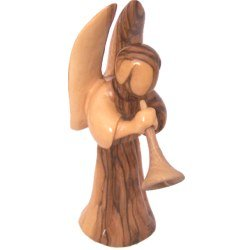 Angel blowing the horn or Trumpet (two pieces) - olivewood (16cm or 6.4