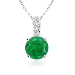 Angara Natural Emerald Knot Pendant for Women in Yellow Gold X2a0zyB