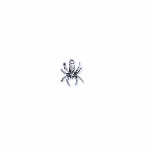 Shipwreck Beads Pewter Spider Charm, Silver, 16 by 18mm, 6-Piece - Charm Spider Pewter