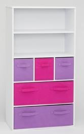 4D Concepts Girl's Storage Bookcase, White (Girls Furniture Shelf)