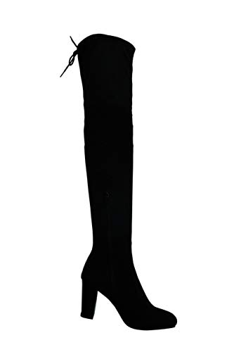Zip Knee Winter Leg Block Faux High Black Boots Fashion Ladies Long 4 Size Mid 303 Tall Suede 8 Heel Warm Emma Shoes 0qZCOO
