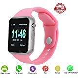 (Girls Womensmart Watch PLYSIN Bluetooth Touch Screen Smartwatch Unlock Cell Phone Sim 2G GSM Camera Sleep Monitor, Push Message, Anti Lost Etc Men Women Kids (Pink))