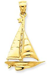 14k Solid Gold Sailboat Pendant