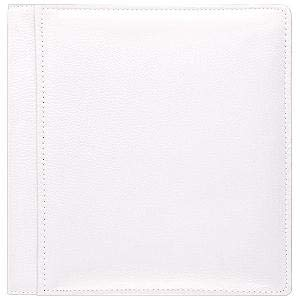 WHITE-WHITE pebble grain leather #133 magnetic page album by Raika -