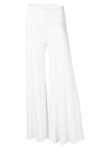 (Friendshiy Sexy New 5 Yards 20 Color Women's Wide Leg Trousers,Small,White)