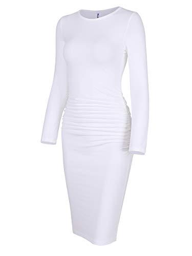 Missufe Women's Long Sleeve Ruched Casual Sundress Midi Bodycon Sheath Dress (White, X-Small)