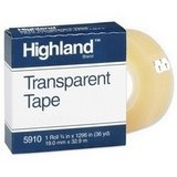 Highland Transparent Tape, 1 roll 3/4'' x 1296'', 1 Inch Core, Clear (MMM5910341296)