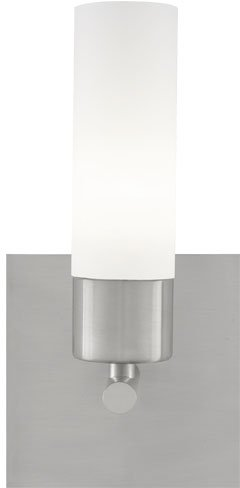 Tiella 800SCLARWS Largo Collection 1 Light ADA Wall Sconce, Satin Nickel Finish with Frost White Glass Shade Frost Glass Cylinder