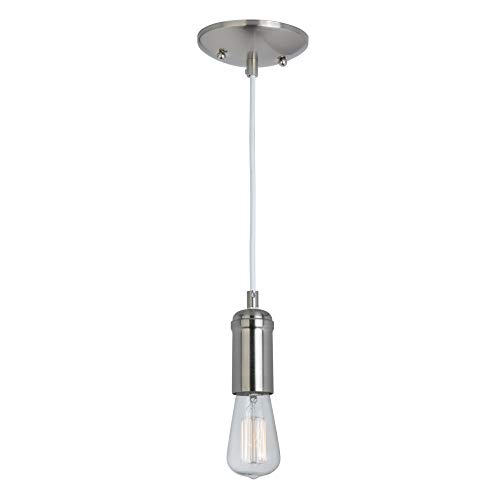 (Globe Electric Edison 1-Light Pendant, Brushed Steel, White Woven Fabric Cord 65181)
