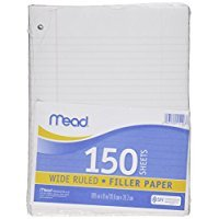 2 Pk. Mead filler paper, loose-leaf paper. 150 sheets per pack. by Mead
