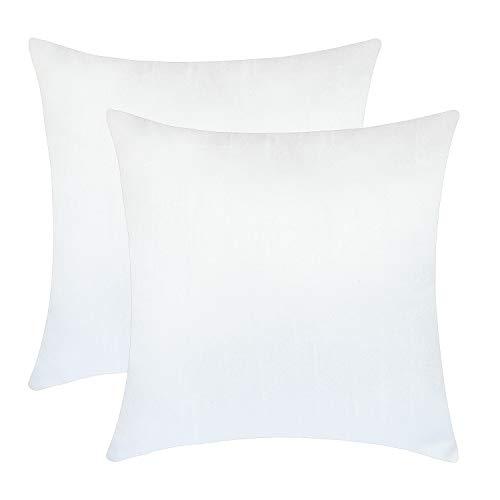 Set of 2 White Art Silk Pillow Covers, Plain Silk Cushion Co