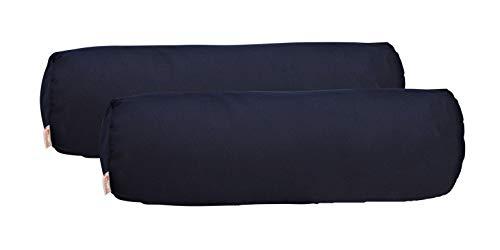 "RSH Décor Set of 2 Indoor Outdoor Decorative Bolster Neckroll Throw Pillows Sunbrella Canvas Navy (20"" x 6"")"