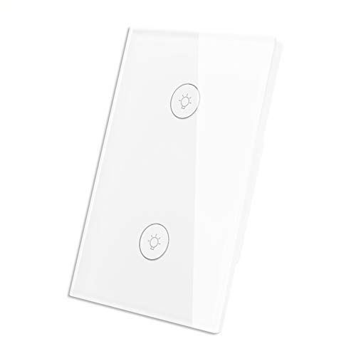 WiFi Smart Wall Touch Light Switch Glass Panel Wireless Remote Control by Mobile APP Anywhere Compatible with Alexa,Timing Function No Hub Required (Wall Switch 2 (Nova Neutral Safety Switch)