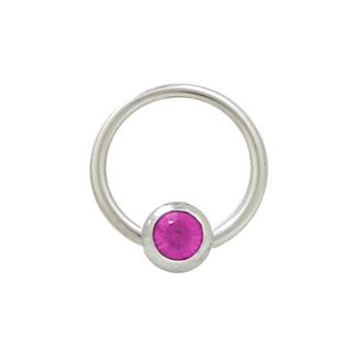 Jeweled Steel Captive Ring (Captive Bead Ring Surgical Steel with 6mm Fuschia Jeweled Bead - 14 Gauge - 1/2 Inch)