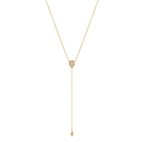 GELIN 14k Solid Gold 0,03 ct Diamond Teardrop Pendant Y Necklace for Women, Surprise Fine Jewellery,18 inch